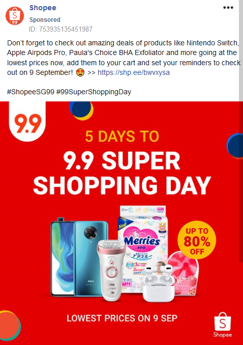 Advertisement on Facebook showing some good deals, and nudging the customer to add to cart