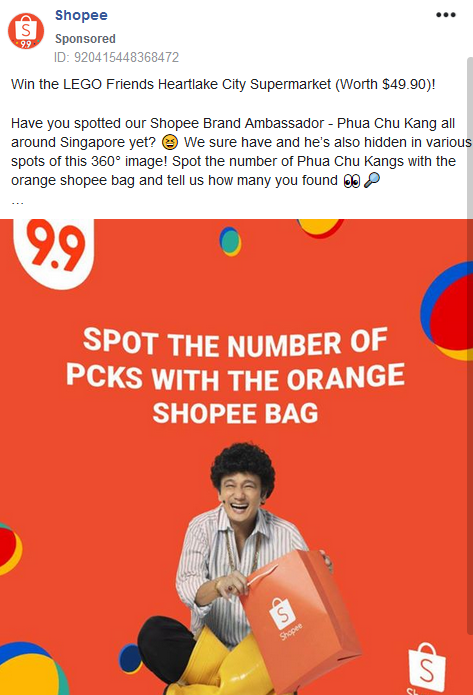 Facebook advertisement from Shopee