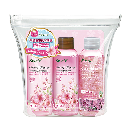 Kustie Cherry Blossom 3 in 1 Travel Set (Shampoo+Conditioner+Shower&Bath Gel)