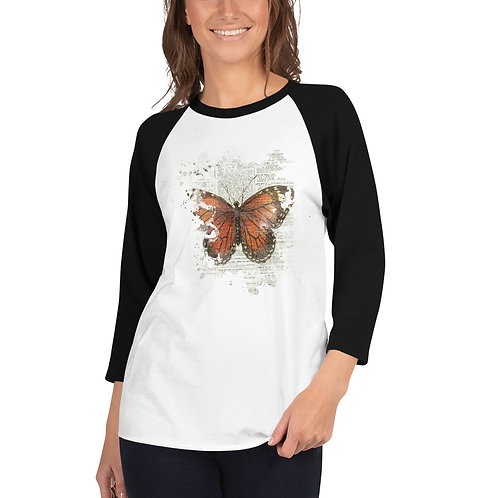 Vintage Butterfly Watercolor Collage 3/4 sleeve raglan shirt