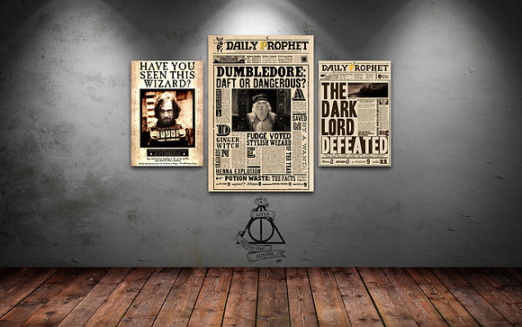 QUADRO TRIPLO HARRY POTTER NEWSPAPER