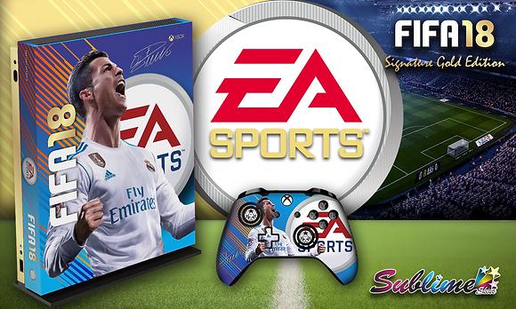 SKIN XBOX ONE X FIFA 18 SIGNATURE GOLD EDITION