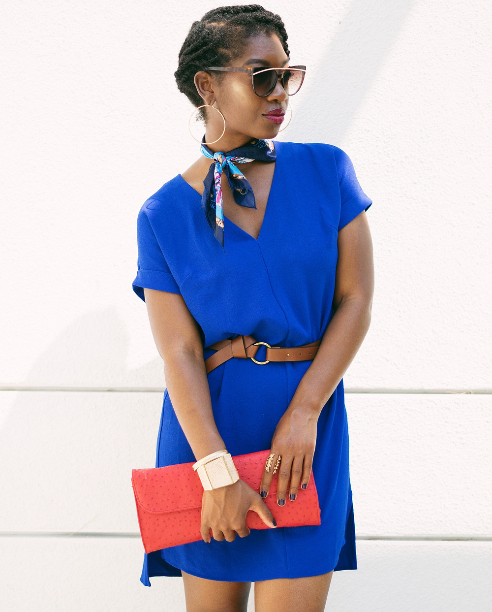 Wearing a chic blue casual dress with a silk square scarf neck tie, The dress is from Target , the Women's Short Sleeve Crepe  Dress (black fashion blogger) Los Angeles Fashion Blogger), What to wear in your 30's, The scarf neck tie trend 2018