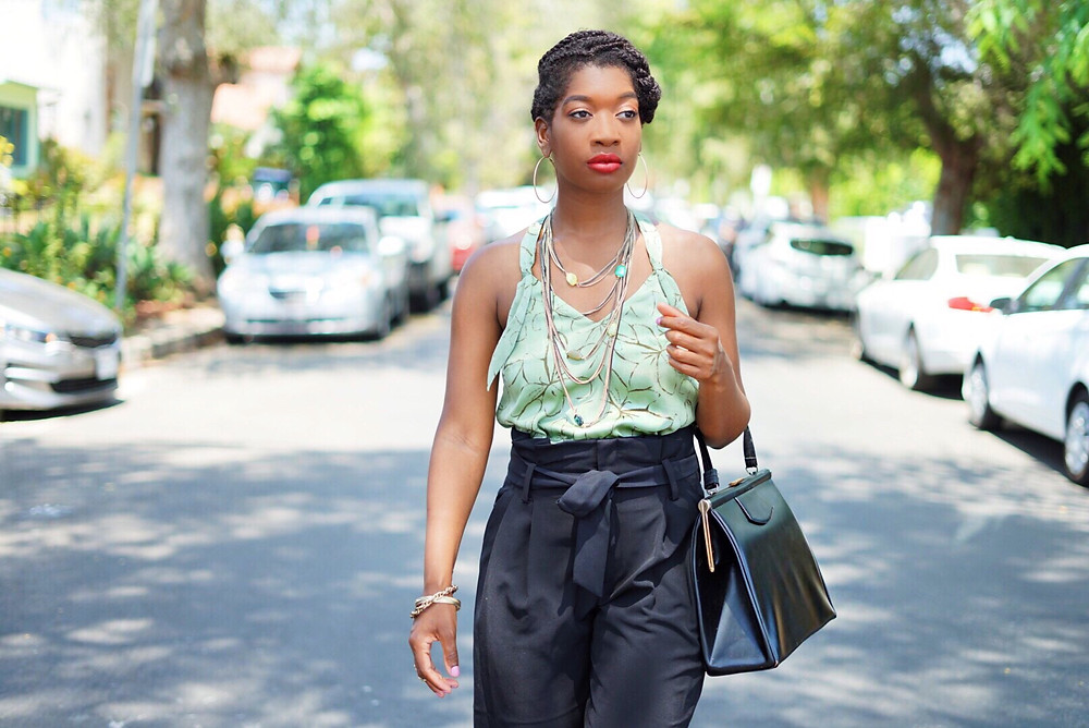 black fashion blogger, how to style a olive raceback tank, mossimo, los angeles black fashion blogger