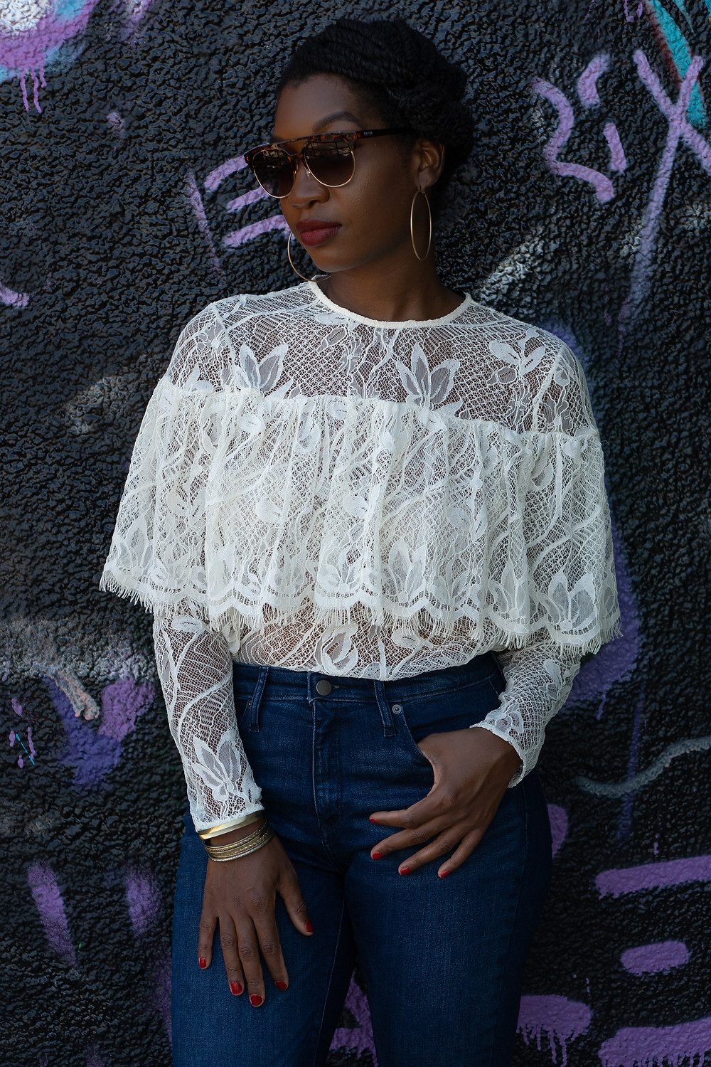 Who What Wear Lace Ruffle Blouse