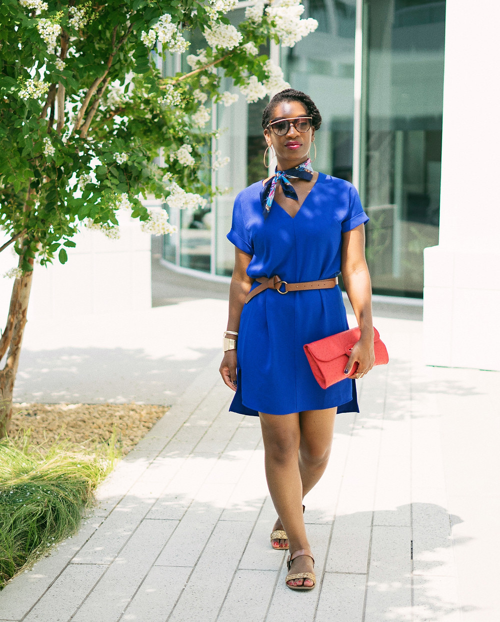 Women's Short Sleeve Crepe Dress - A New Day | How to accessorize a dress with a scarf. Blue casual dress. Chic Blue dress.
