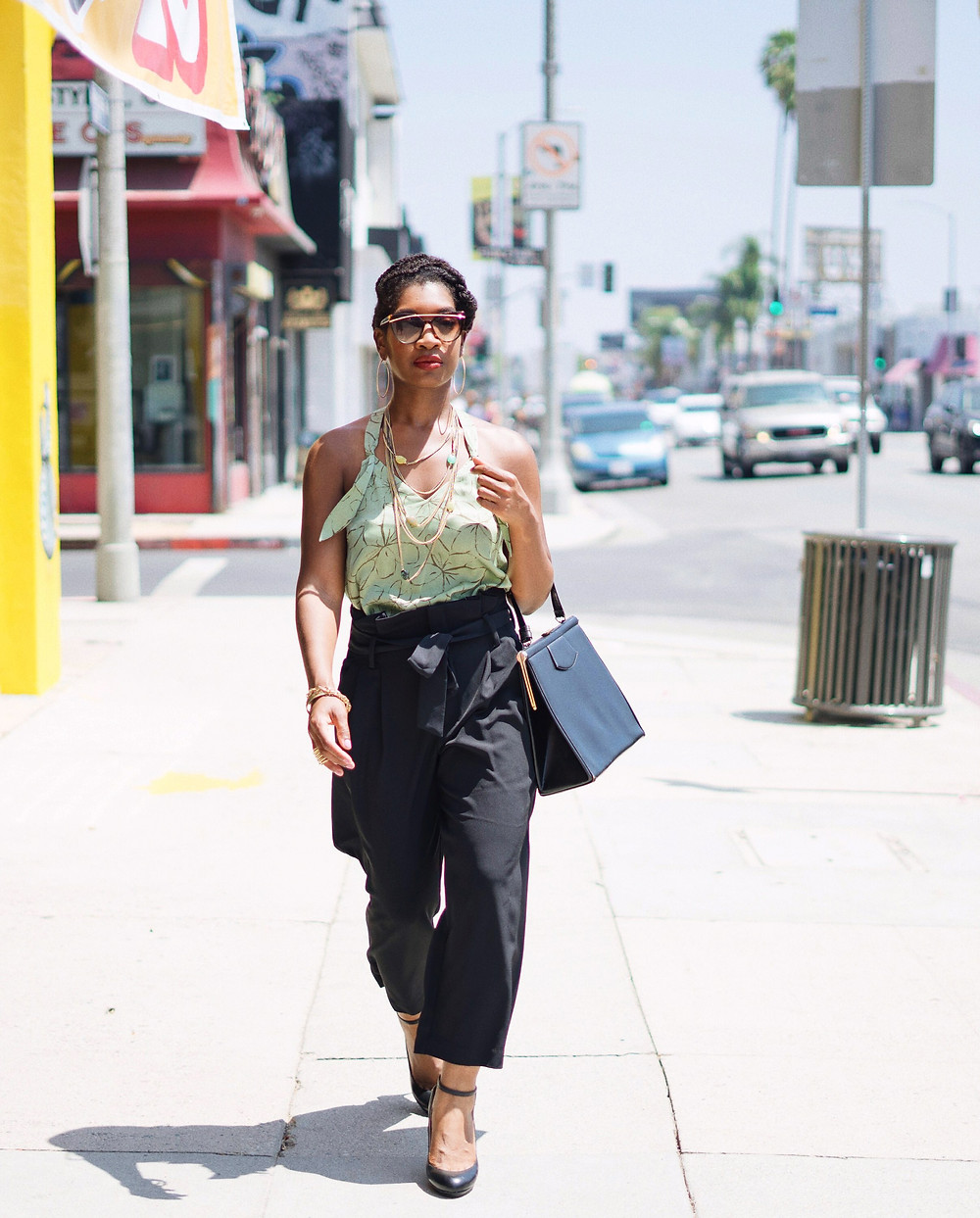 Paperbag Waist Pants on black fashion blogger. How to style paperbag waist pants.