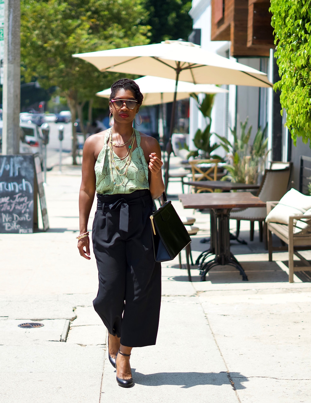 los angeles black fasshion blogger, how to style wide leg paperbag pants