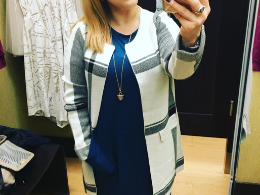 What I Wore - Teal Cocoon Dress with Plaid Jacket