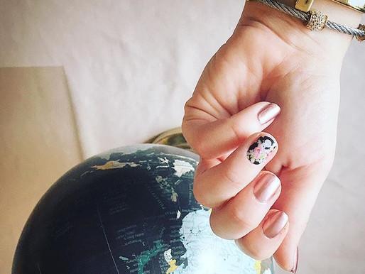 Jamberry Nails – Metallic Rose Gold & Black Floral