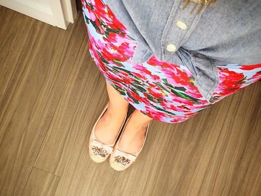#OOTD - Floral Skirt and Denim Shirt