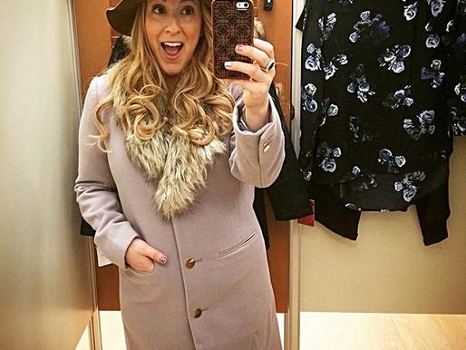 Lavender coat with faux fur trim