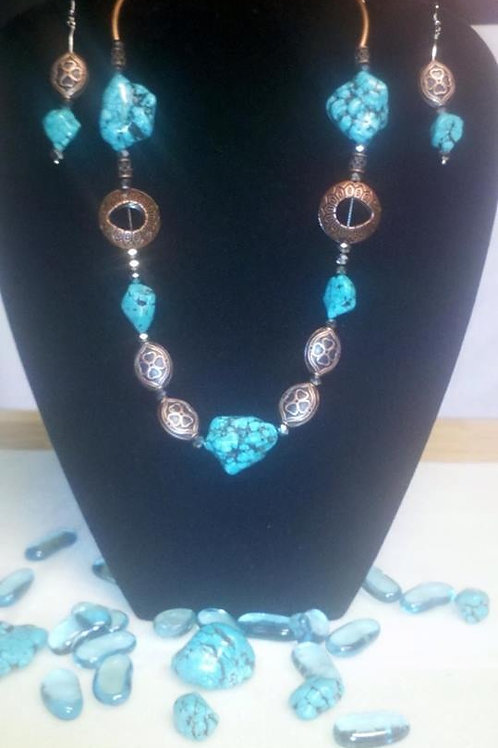 Turquoise & Silver Tone Necklace Set
