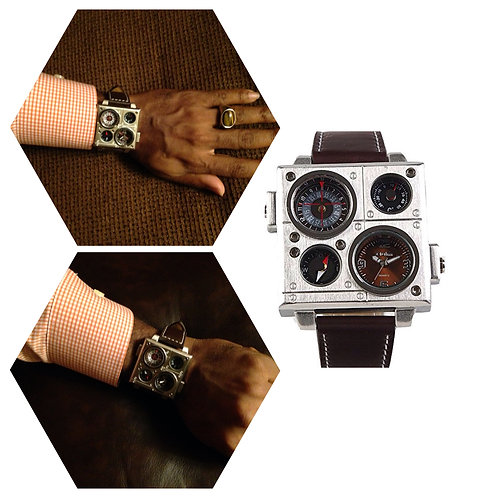 Men's Brown Leather Dual Zone Watch