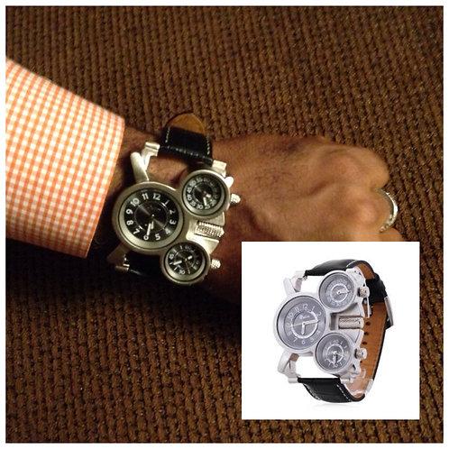 Men's Three Time Display Black Leather Watch