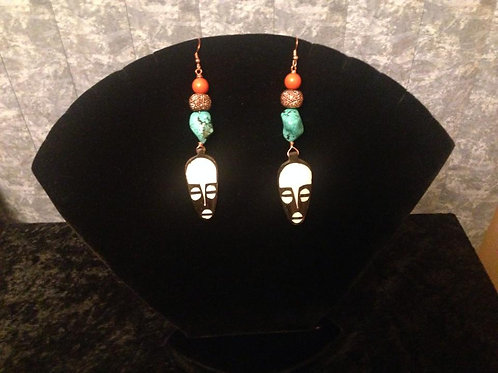 Mask Turquoise and Copper Earrings