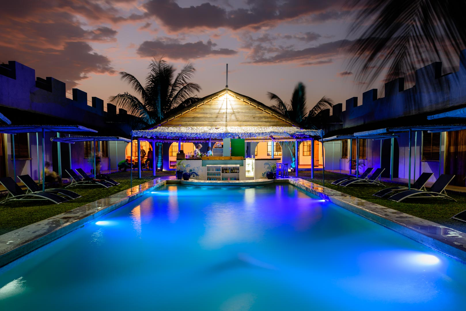 Night Time by the Pool