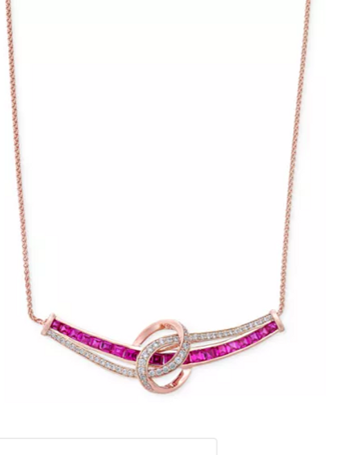 Ruby (2 cttw) and Diamond (1 cttw) Necklace Rose Gold
