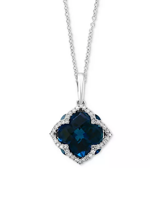 EFFY London Blue Topaz & Diamond (6 C.T.T.W.) Pendant Necklace 14K White Gold