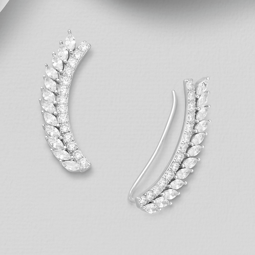 Ear Pins Solid  Sterling Silver 925