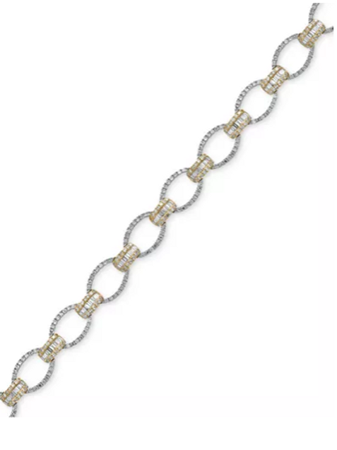 Duo by EFFY Diamond (3 cttw)Tennis Bracelet 14K White and Yellow Gold