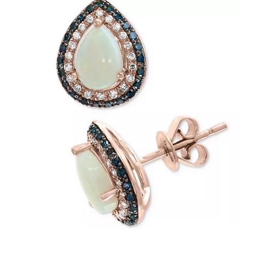 EFFY Fire Opal with Blue & White Diamonds 14K Rose Gold