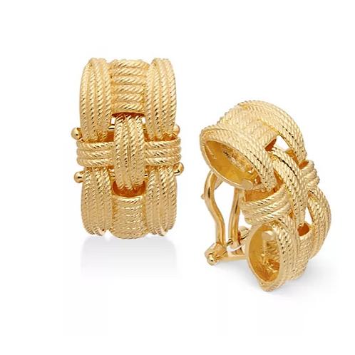 Italian Gold Woven Earrings 14K YG
