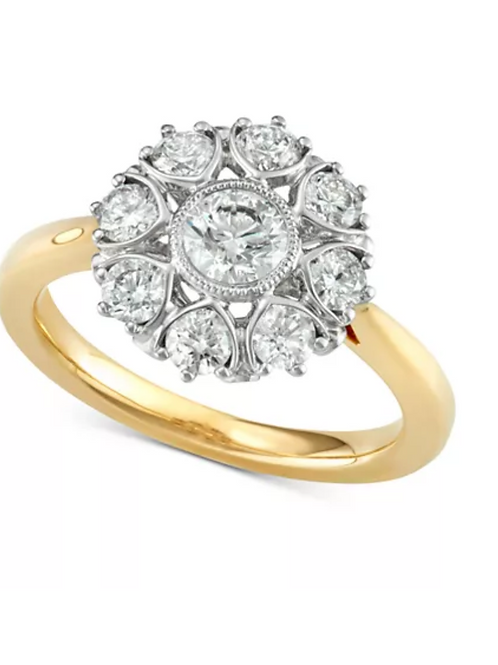Marchesa Diamond Floral Engagement Ring 18K Yellow Gold