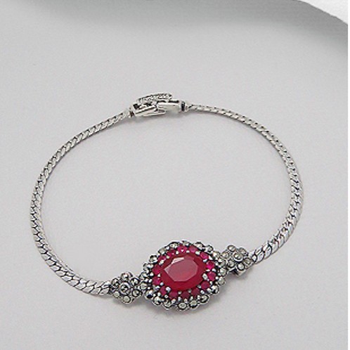 Ruby Bracelet 39.7 Grams Silver