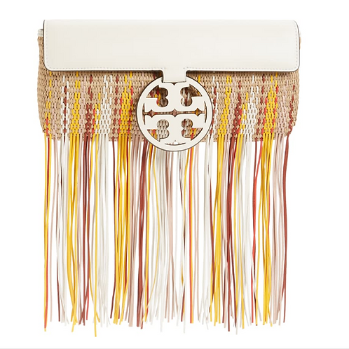 Tory Burch Fringe Woven Clutch-New Ivory-Natural