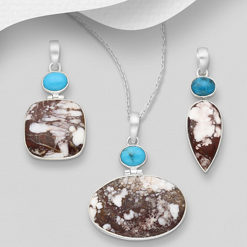 Handmade Wildhorse Stone Decorated with Turquoise set in solid 925 Sterling Silv