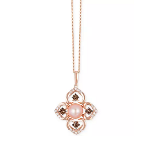 Le Vian Chocolatier Pink Freshwater Pearl and Diamond Necklace 14K Rose Gold