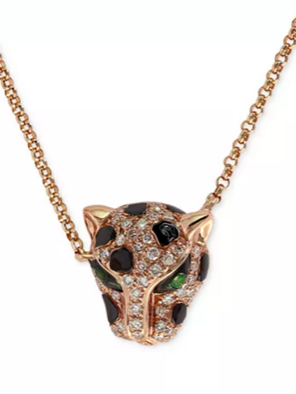 EFFY Diamond and Emerald Panther Necklace 14K Rose Gold