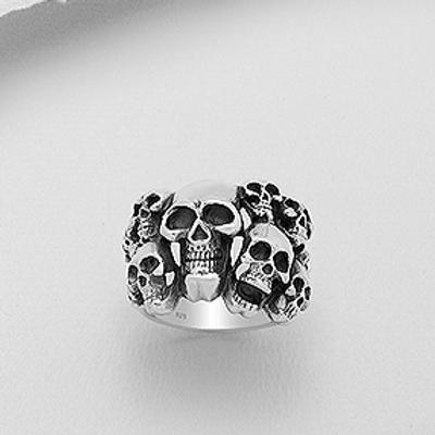 Large Multi Skull Ring 17GR Solid Sterling Silver