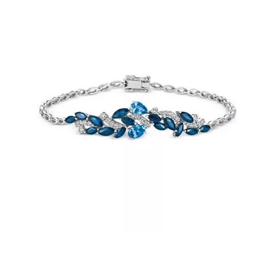 Sapphire and Diamond Bracelet (4 C.T.T.W.) 14K White Gold