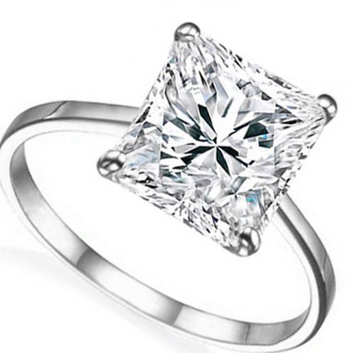 Engagement Ring, 2Ct Emerald Cut 14K WG