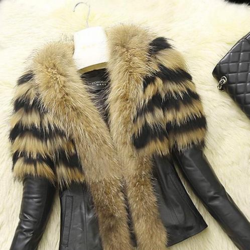 Cape Style Fur Leather Coat