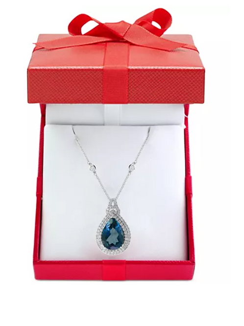 EFFY London Blue Necklace 8CT Diamond 1/2 CT Necklace 14 White Gold