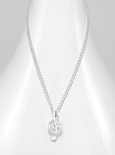 Large Music Note Pendant Necklace