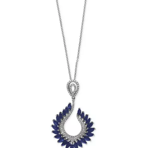 Royale' Bleu by EFFY Sapphire Necklace in 14K WG