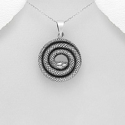 Snake Pendant Necklace 925 Sterling Silver