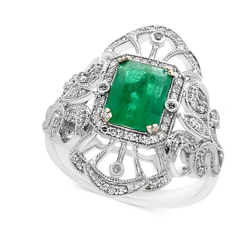 Vintage Emerald and Diamond Engagement ring 14K White Gold