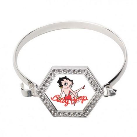 Betty Boop Pave' Set (3.5 cttw) Silver Bangle Bracelet