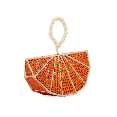 Mercedes Salazar Raffia Orange Wedge Clutch Bag