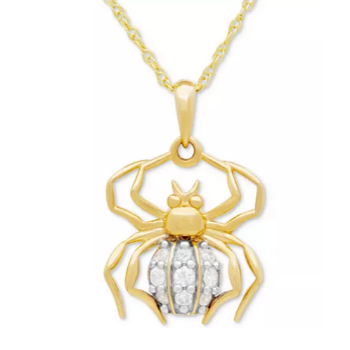 Diamond Spider Pendant Necklace 14K Yellow Gold