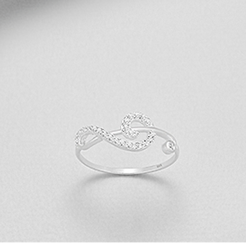 Music Note Ring with Man-Made Diamonds