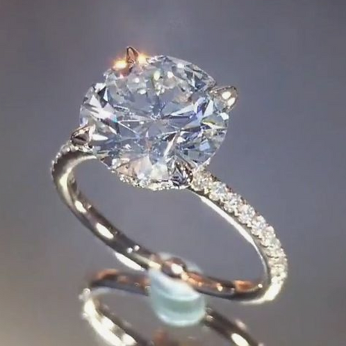 Engagement Ring 5CT Diamond Solitaire 14K WG