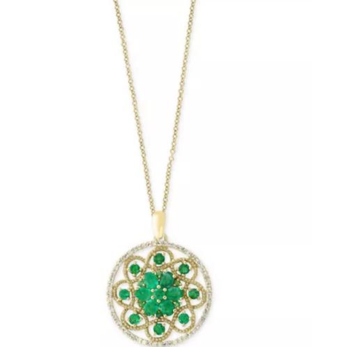 EFFY Emerald And Diamond Deco Style Pendant Necklace 14K