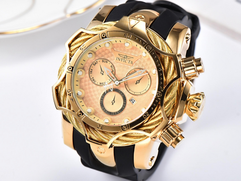 3D Invicta 52mm Golden Face Chronograph Watch