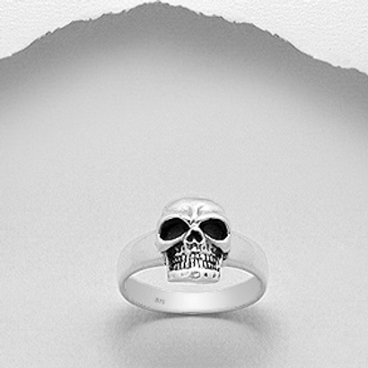 Wide Band Skull Sterling Silver